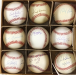 1980s-2000s Hall of Fame/Rock N Roll Signed Baseball Collection - Lot of 9 w/ Hank Aaron, Earth Wind & Fire, and More (JSA)