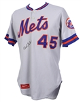 1981 Bob Gibson New York Mets Signed Game Worn Road Jersey (MEARS LOA/JSA)