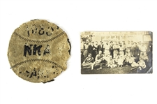 1880-1912 Baseball Memorabilia Collection - Lot of 2 w/ 1880 NKA Champs Patch & 1912 Snapshot
