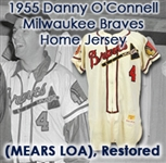 1955 Danny OConnell Milwaukee Braves Game Worn Home Jersey (MEARS LOA)