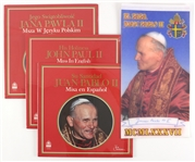 "1979-87 Pope John Paul II Memorabilia Collection - Lot of 4 w/ 9"" x 17"" Felt Banner & Sealed Multilingual Mass LPs"