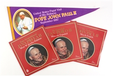 "1979-87 Pope John Paul II Memorabilia Collection - Lot of 4 w/ 29"" Full Size Pennant & Sealed Multilingual Mass LPs"