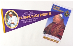 1987 Pope Juan Pablo II United States Visit Pennants - Lot of 2