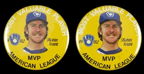 "1982 Robin Yount MVP Milwaukee Brewers 3.5"" Pinback Button (Lot of 2)"