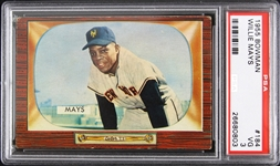1955 Willie Mays New York Giants Bowman Trading Card (PSA Slabbed 3 VG)