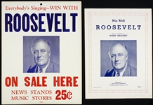 "1940 Win With (Franklin Delano) Roosevelt Sheet Music & 11"" x 14"" Broadside - Lot of 2"