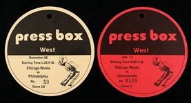 1975 Chicago Winds WFL Press Box Passes - Lot of 2