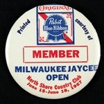 "1967 Milwaukee Jaycee Open Pabst Blue Ribbon 2.5"" Member Pinback Button"