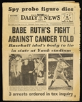1948 (August 17) Babe Ruth New York Yankees Fight Against Cancer Told Philadelphia Daily News Newspaper