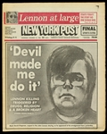 1980 (December 10) Mark David Chapman John Lennon Assassination New York Post Newspaper