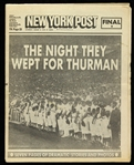"1979 (August 4) Thurman Munson New York Yankees ""The Night They Wept For Thurman"" New York Post Newspaper"
