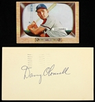 1954-55 Danny OConnell Milwaukee Braves Bowman Trading Card & Signed Postcard - Lot of 2 (JSA)