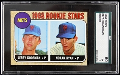1968 Nolan Ryan New York Mets Topps Rookie Trading Card (SGC 60 EX 5)
