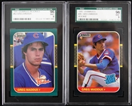 1987 Greg Maddux Chicago Cubs SGC Slabbed Donruss Rookie Trading Cards - Lot of 2