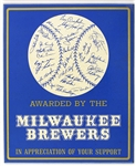 "1970 Milwaukee Brewers 7.5"" x 9"" In Appreciation of Your Support Inaugurual Season Wall Display"