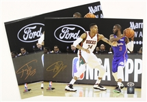 "2016 Giannis Antetokounmpo Milwaukee Bucks Signed 8"" x 10"" Photos - Lot of 2 (Player Hologram/COA)"