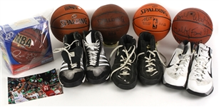 1990s-2010s Basketball Memorabilia Collection - Lot of 9 w/ 2015 Slam Dunk Contest Used Basketball, Bill Walton Signed Basketball, Game Worn Sneakers & More (MEARS LOA)