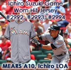 2016 (July 17) Ichiro Suzuki Miami Marlins Signed Game Worn Road Jersey  (MEARS e1cd6ba86