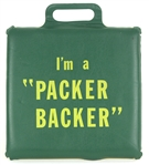 "1960s Green Bay Packers Esso Gas Station ""Im A Packer Backer"" Seat Cushion"