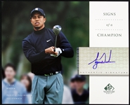 "2004 Tiger Woods 14 Time Major Champion Golfer Signed 8"" x 10"" Signature Golf Photo (Upper Deck)"