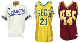 1979-90 Game Worn College Basketball Apparel Collection - Lot of 3 w/ Greg Kite BYU Warmup, Kyle Kazan USC Jersey & Keith Reynolds Oregon Jersey (MEARS LOA)