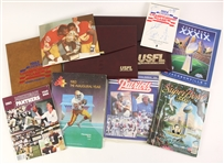 1983-2005 USFL NFL Memorabilia Collection - Lot of 9 w/ USFL Programs, Super Bowl Programs & More