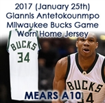 2017 (January 25) Giannis Antetokounmpo Milwaukee Bucks Game Worn Home Jersey (MEARS A10/Team COA/Fanatics)