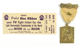 1952 Archie Moore Joey Maxim Boxing Ticket & 1950s Chicago Tribute Golden Glove Tournament Medal