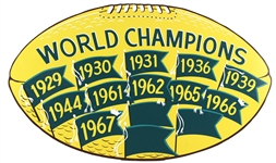 "1970s Green Bay Packers World Champions 19"" x 32"" Football Shaped Sign"