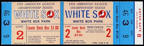 1972 American League Championship Chicago White Sox Full Phantom Ticket