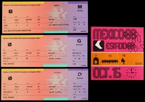1984 Olympic Baseball Full Tickets (3) & 1968 Olympic Boxing Mexico Ticket Stub (4 total)