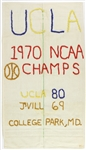"1970 UCLA Bruins Hand Embroidered 20"" x 36"" NCAA Champs Banner"