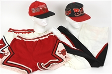 1980s-90s Chicago Bulls Apparel Collection - Lot of 5 w/ Uniform Shorts, Snap Away Warm Up Pants & Hats (MEARS LOA)
