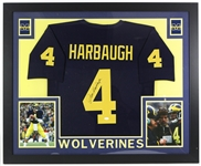 "2017 Jim Harbaugh Michigan Wolverines 36"" x 44"" Framed Display w/ Signed Jersey (*JSA*)"
