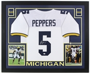 "2017 Jabril Peppers Michigan Wolverines 36"" x 44"" Framed Display w/ Signed Jersey (*JSA*)"