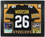 "2016 Rod Woodson Pittsburgh Steelers 36"" x 44"" Framed Display w/ Signed Jersey (*JSA*)"