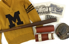 1916-18 Jack Markweiss Marquette Academy Game Used Baseball Equipment & Studio Photography Collection - Lot of 7 w/ Spalding Shin Guards, Mitt, Bat & More (MEARS LOA)