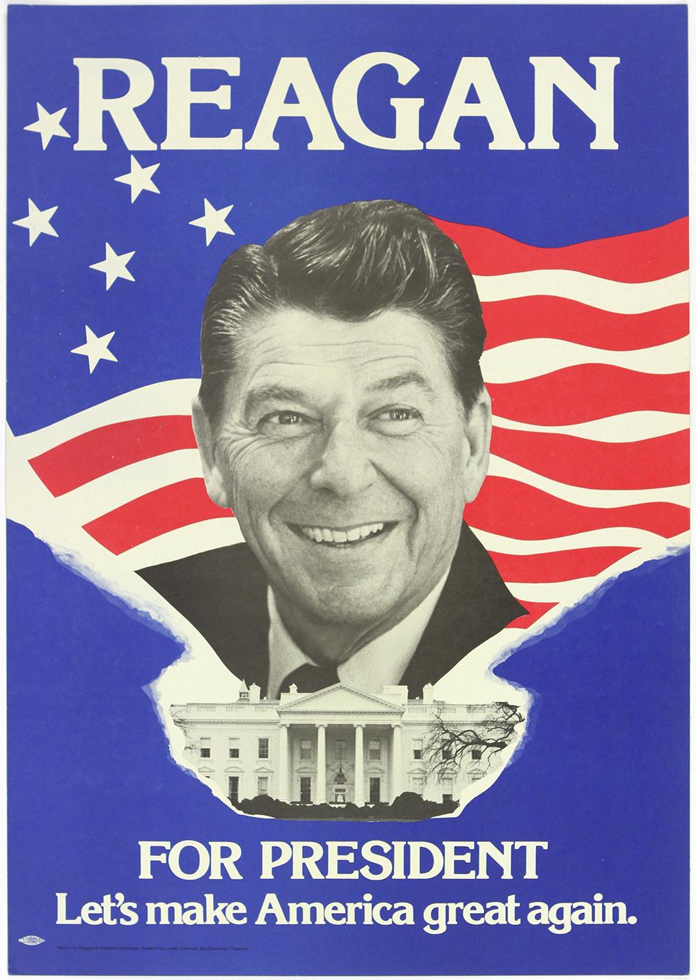 Lot Detail - 1980 Ronald Reagan Let's Make America Great Again ...