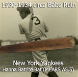"1934 circa Babe Ruth New York Yankees Burke Hanna Batrite Louisville Slugger Professional Model Game Used Bat (MEARS A5.5) ""Most Likely Used During His Final Yankee Season"""