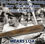 1924-1930 Lou Gehrig New York Yankees 100 Diamond Ace Professional Model Game Bat (MEARS LOA)