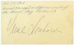 1968 Vince Lombari Green Bay Packers Autographed 3x5 Index Card (JSA)