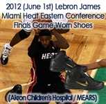 2012 (June 1st) Lebron James Miami Heat Eastern Conference Finals Game Worn Shoes (Akron Childrens Hospital / MEARS)