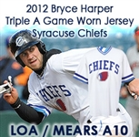 2012 Bryce Harper Syracuse Chiefs Triple A Game Worn Jersey (Syracuse Chiefs LOA / MEARS A10)