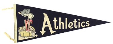 "1950s Vintage Kansas City Athletics Blue 29"" Pennant"