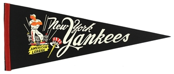 "1950s Vintage New York Yankees 29"" Pennant"