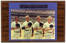 All Time New York Yankee Greats 13x20 Plaque Signed by Mickey Mantle, Joe Dimaggio, Whitey Ford, & Bill Martin (JSA) *