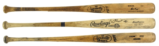 1980's – 1990 Milwaukee Brewers Professional Model Game Used Bat Collection Lot of 3 w/ Rob Deer, Glenn Braggs and Bill Spiers (MEARS LOA/JSA)