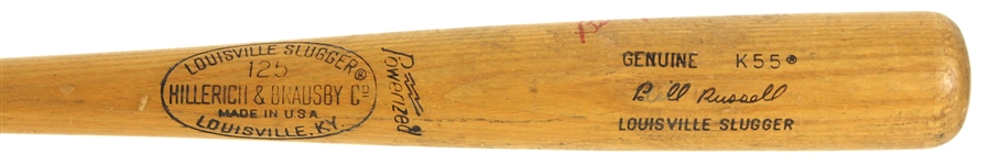 1977-79 Bill Russell Los Angeles Dodgers H&B Louisville Slugger Professional Model Autographed Game Used Bat (MEARS LOA / JSA)