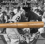 1959 Rare Nellie Fox World Series Chicago White Sox H&B Professional Model Game Used Bat (MEARS A10)