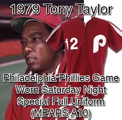 1979 Tony Taylor Philadelphia Phillies Game Worn Saturday Night Special Full Uniform (MEARS A10) Rare One Night Only Style